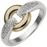 Ring - 585 Gold - Weißgold - Gelbgold - bicolor - 32 Diamanten Brillanten